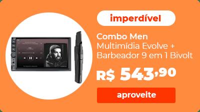 Combo Men - Multimídia Evolve com Espelhamento IOS/Android 7 pol. e Barbeador Navalha 9