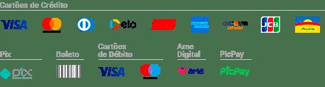 Formas de Pagamento | Cartão de Crédito em 12x | Boleto | Cartão de Débito