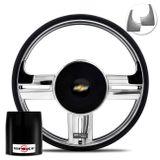 Volante-Shutt-Rallye-Cromado-Xtreme-Aplique-Preto-Prata-Escovado-Cubo-Chevette-Chevy-Marajo-73-a-95-connect-parts--1-
