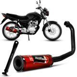 Escapamento-Moto-Esportivo-CG-Titan-150-05-A-08-Vermelho---Cavalete-Com-Regulagem-Preto-Fosco-Shutt-connectparts---1-
