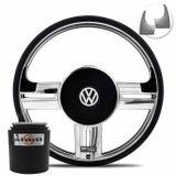Volante-Shutt-Rallye-Cromado-Xtreme-Aplique-Preto-Prata-Escovado---Cubo-Gol-Parati-Golf-Linha-VW-connect-parts--1-