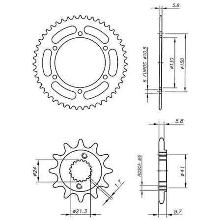 Kit-Coroa-Pinhao-Honda-NX400-Falcon-2000-A-2008-HCP0071T-Vaz-connectparts---3-