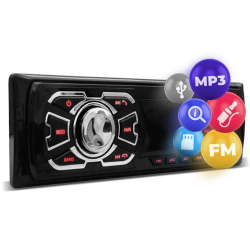 Rádio Automotivo Som MP3 Player 1 Din USB SD FM Auxiliar Svart T100