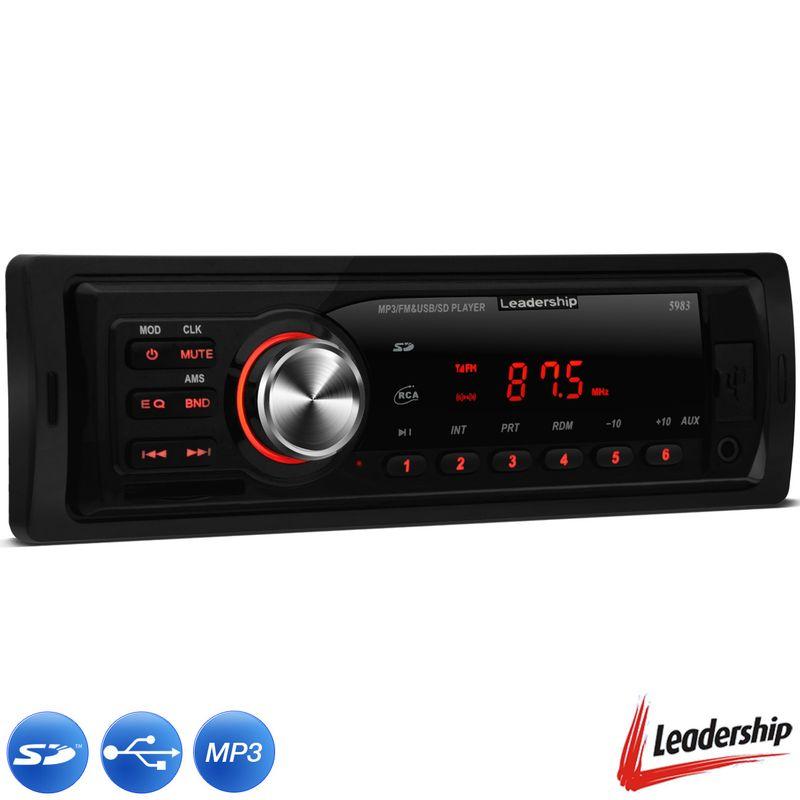 MP3 Player Automotivo Leadership Blue Macaw 1 Din USB SD FM