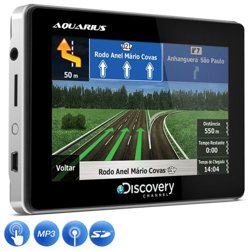GPS Automotivo Aquarius Discovery Channel 4.3 Polegadas Slim