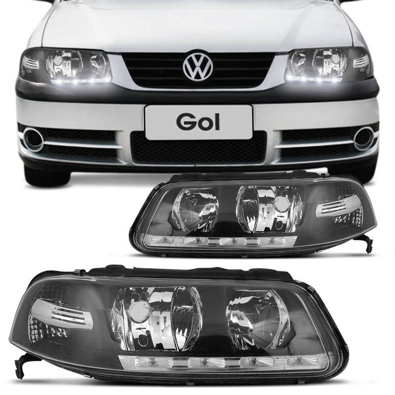 Farol Gol G3 00 a 05 Máscara Negra Foco Duplo 4 LEDs Daylight cod: 2006700