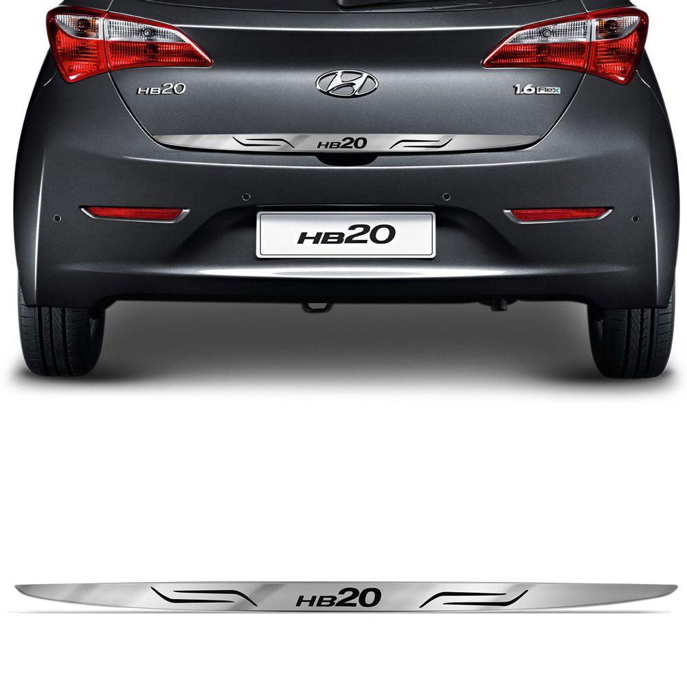 0bfad9215054c Adesivo Cromado Resinado Traseira Porta Malas Hyundai HB20 2012 a 2018 com  Grafia Excelente Fixação