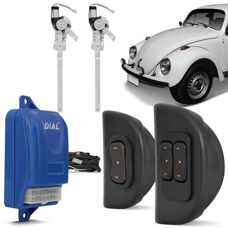 Kit Vidro Elétrico Sensorizado Fusca 59 a 96 com Quebra-Vento