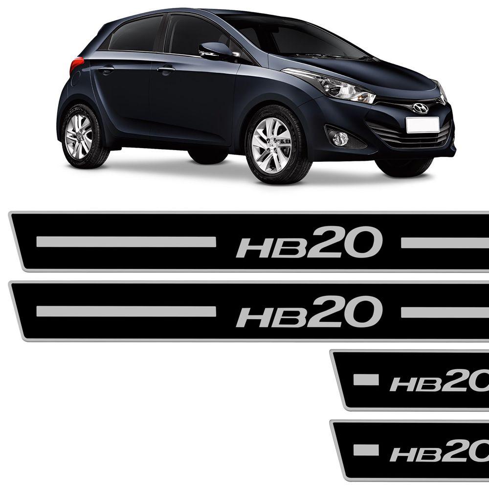 0b99e56afc721 Jogo de Soleira Resinada Hyundai HB20 2012 a 2018 Preto com Grafia Cromada  Excelente Fixação