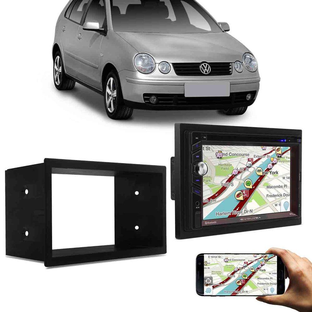 1dc52d3e1 Central Multimídia Evolve+ Mirror Link GPS Bluetooth + Moldura Painel 2 Din  Fox 10 a 13