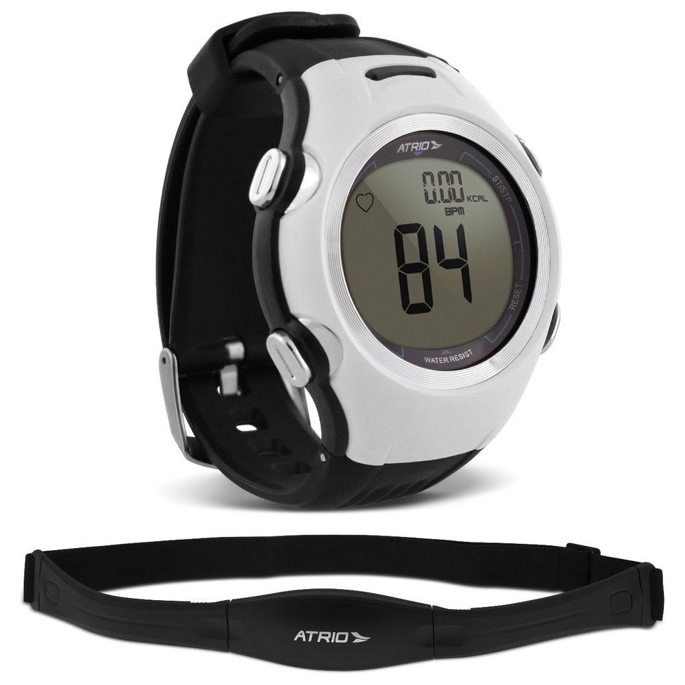 6e52b34f8d8 Relógio Monitor Cardíaco Smart Run Atrio Altius Preto e Branco Cinta  Transmissora Contador Calorias