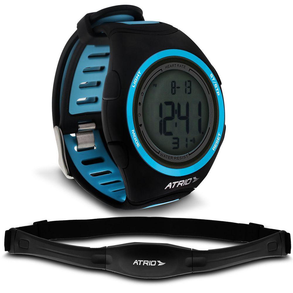da90493c094 Relógio Monitor Cardíaco Heart Rate Atrio Citius Preto e Azul Cinta  Transmissora Conta Caloria ES050
