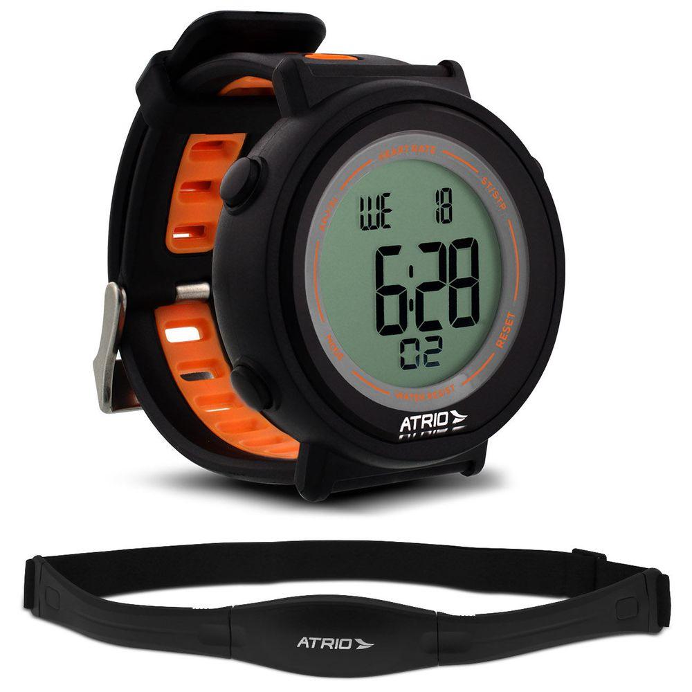 c892fcf4f7f Relógio Monitor Cardíaco Atrio Fortius ES049 Preto e Laranja Contador de  Calorias Com Cinta Torácica