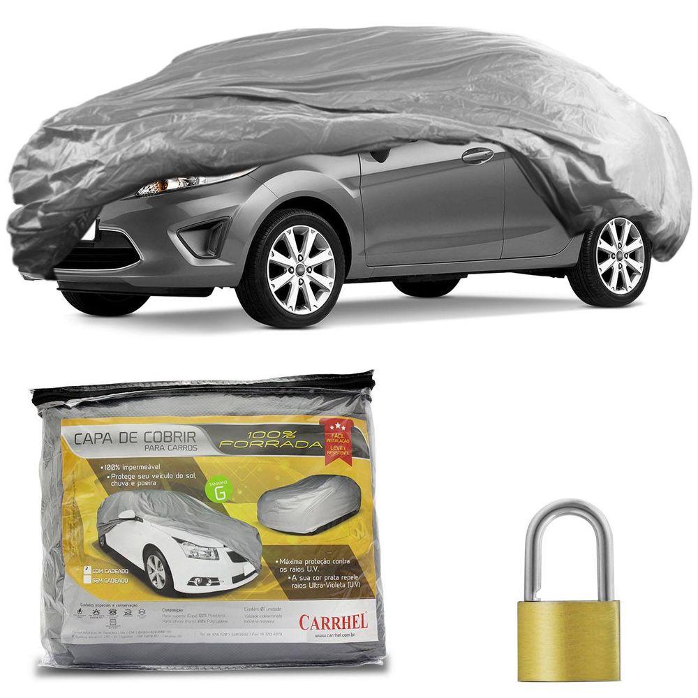 7afc47fd513 Capa Protetora para Cobrir Carro Impermeável Forrada Proteção UV Tamanho G  com Cadeado + Cabo de Aço