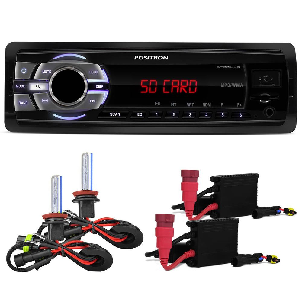 d80ff958242 MP3 Player Positron SP2210UB USB FM SD Card 1 Din Slim WMA + KIT Xenon HB4  8000K