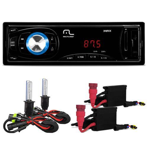 MP3-Player-Multilaser-Max-1-Din-SD-USB-AUX-P3208---Kit-Xenon-H3-6000k-connect-parts--1-