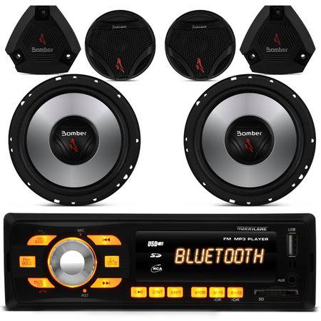 Mp3-Player-Hurricane-Hr-414-Bluetooth-Usb---Par-Alto-Falante-6-Polegadas---Tweeters-Bomber-Upgrade-connect-parts--1-