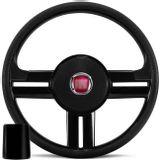 Volante-Rallye-Slim-Preto-Com-Acionador-de-Buzina---Cubo-Fiat-147-78-a-87---Emblema-Fiat-Connect-Parts--1-