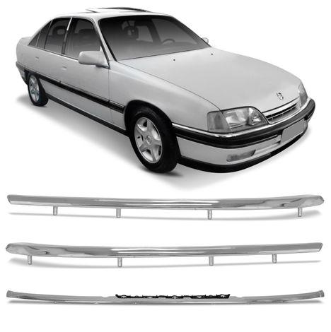 b0e73bb16d3 Kit Friso Para-Choque Cromado GM Omega e Suprema 1993 a 1998 Central e  Lateral Encaixe Sob Medida