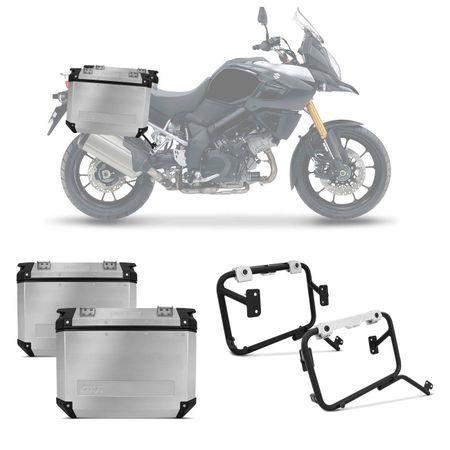 Bauleto-Moto-Suzuki-V-Strom-1000-14-a-16-Givi-Trekker-Outback-Prata-37-Litros---Suporte-Connect-Parts--1-