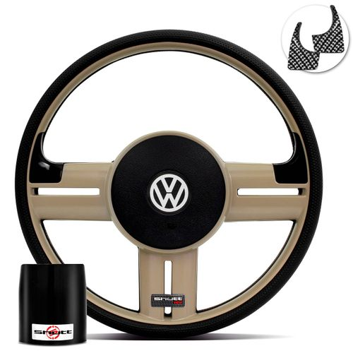Volante-Shutt-Rallye-Bege-RS-Aplique-Preto-e-Carbono---Cubo-Gol-Fox-Saveiro-Golf-Polo-Linha-VW-Connect-Parts--1-