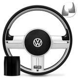 Volante-Shutt-Rallye-Prata-Xtreme-Aplique-Preto-e-Prata-Escovado--Cubo-Fusca-Passat-Todos-VW-Connect-Parts--1-