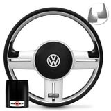 Volante-Shutt-Rallye-Prata-Xtreme-Aplique-Preto-e-Prata-Escovado---Cubo-Gol-Fox-Golf-Polo-Linha-VW-connect-parts--1-