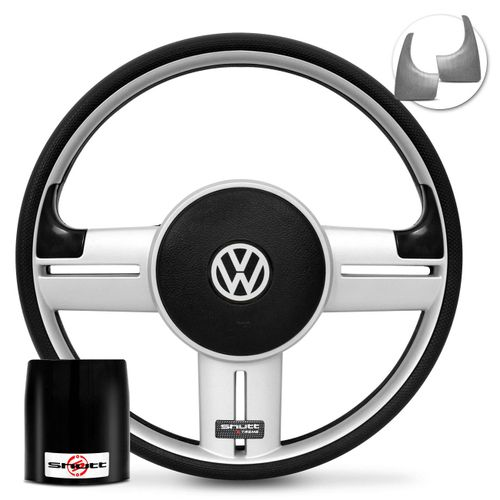 Volante-Shutt-Rallye-Prata-Xtreme-Aplique-Preto-e-Prata-Escovado---Cubo-Gol-Fox-Golf-Polo-Linha-VW-connect-parts--1-