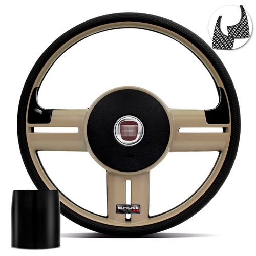 Volante-Shutt-Rallye-Bege-RS-Aplique-Preto-e-Carbono---Cubo-Palio-Uno-Fiorino-Linha-Fiat-connect-parts--1-