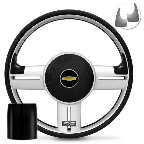Volante-Shutt-Rallye-Prata-Xtreme-Aplique-Preto-e-Prata-Escovado---Cubo-S10-Blazer-connect-parts--1-