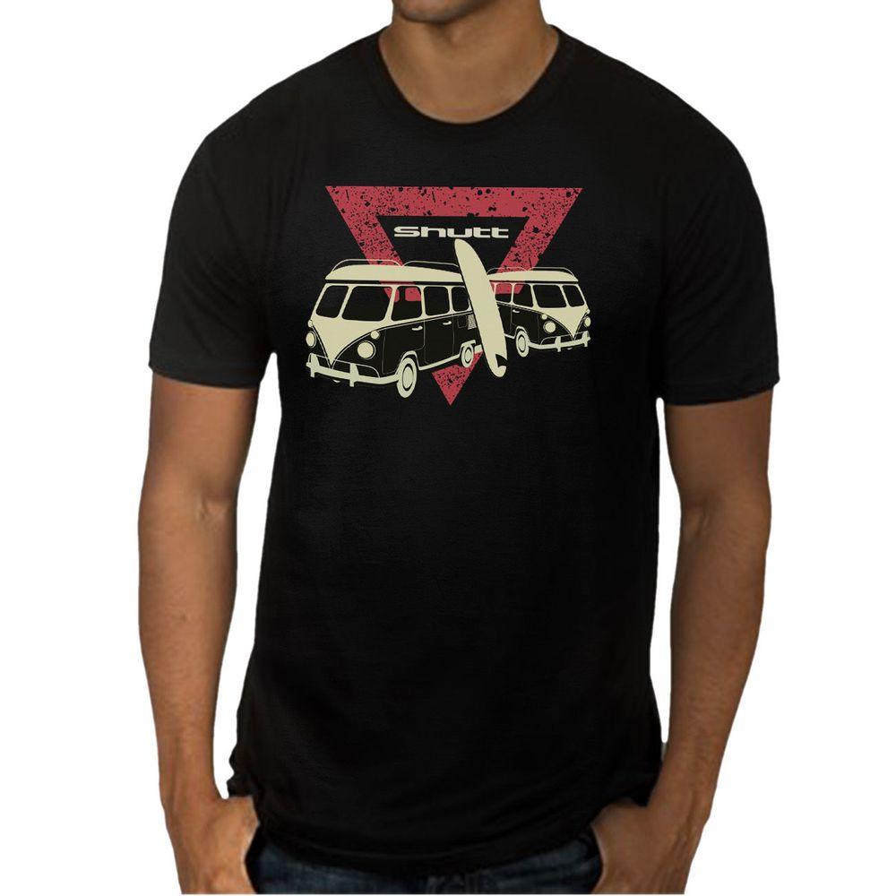Camiseta Shutt Kombi Surf Casual Preta Estampa Vermelha e Branca - Tamanho  GG 76ac5d2f66