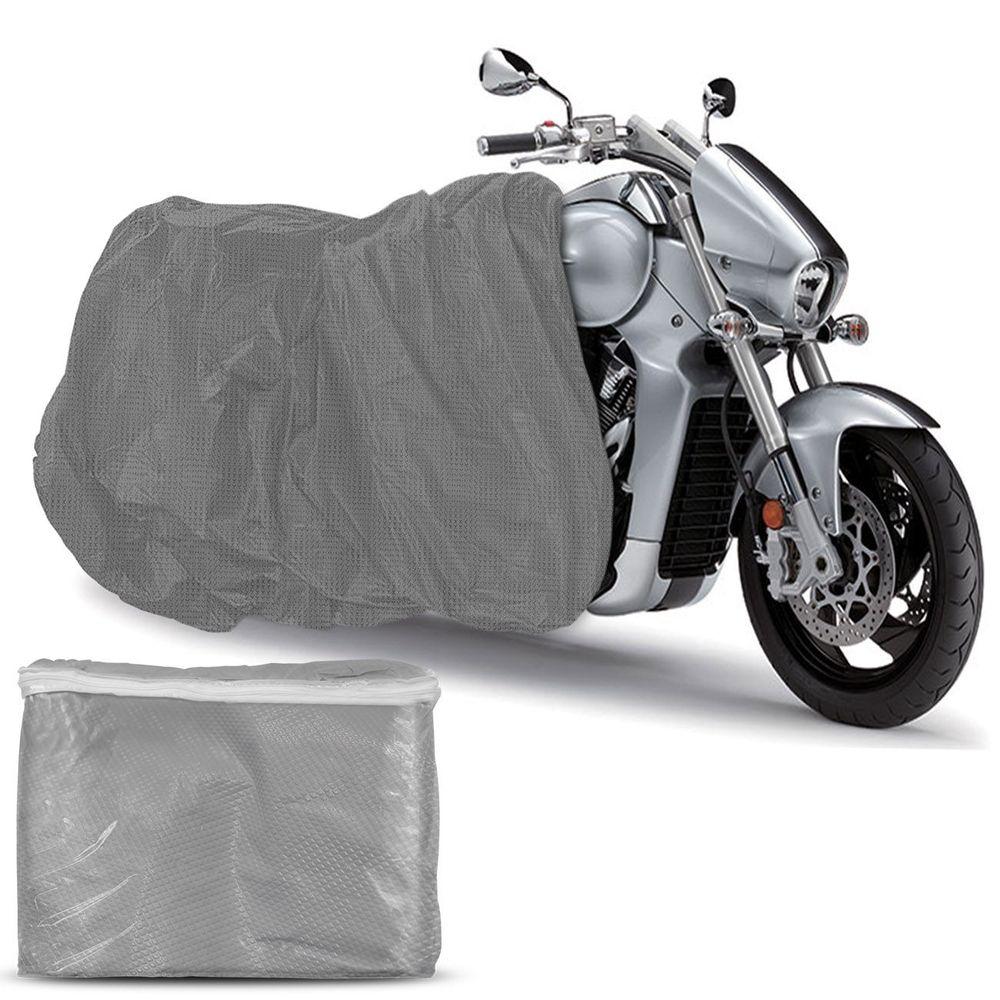 0f434b79f2 Capa Para Cobrir Moto Proteção Impermeável Raios UV Com Elástico Não Risca  a Pintura Universal Prata