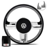 Volante-Shutt-Rallye-Cromado-Xtreme-Aplique-Preto-Prata-Escovado---Cubo-Gol-Fox-Golf-Polo-Linha-VW-connect-parts--1-