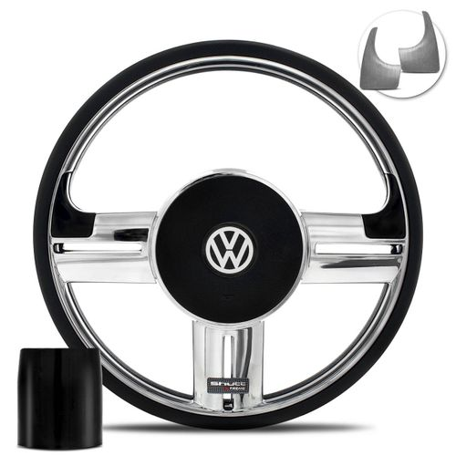 Volante-Shutt-Rallye-Cromado-Xtreme-Aplique-Preto-Prata-Escovado--Cubo-Fusca-Voyage-Passat-VW-connect-parts--1-