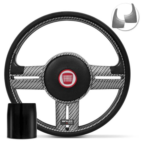 Volante-Shutt-Rallye-Carbon-Xtreme-Apliques-Preto-e-Prata-Escovado---Cubo-Fiat-147-1978-a-1987-connect-parts--1-