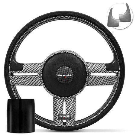 Volante-Shutt-Rallye-Carbon-Xtreme-Apliques-Preto-e-Prata-Escovado---Cubo-Escort-Logus-1993-a-1998-connect-parts--1-