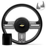 Volante-Shutt-Rallye-Carbon-Xtreme-Apliques-Preto-e-Prata-Escovado---Cubo-Opala-Caravan-Connect-Parts--1-