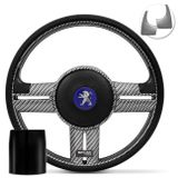 Volante-Shutt-Rallye-Carbon-Xtreme-Apliques-Preto-e-Prata-Escovado---Cubo-Peugeot-206-306-207-Connect-Parts--1-