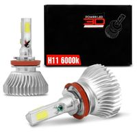 Kit Lâmpada Super LED 3D Headlight H11 6000K 50W 9000LM Efeito Xênon