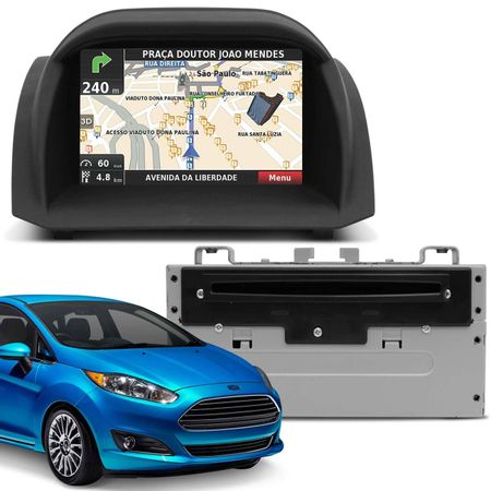Central-Multimidia-Ford-New-Fiesta-Usb-Leitor-de-CDDVD-Entrada-para-Camera-de-Re-connectparts--1-