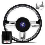 Volante-Shutt-Rallye-Cromado-Xtreme-Aplique-Preto-Prata-Escovado---Cubo-Peugeot-206-306-207-connect-parts--1-