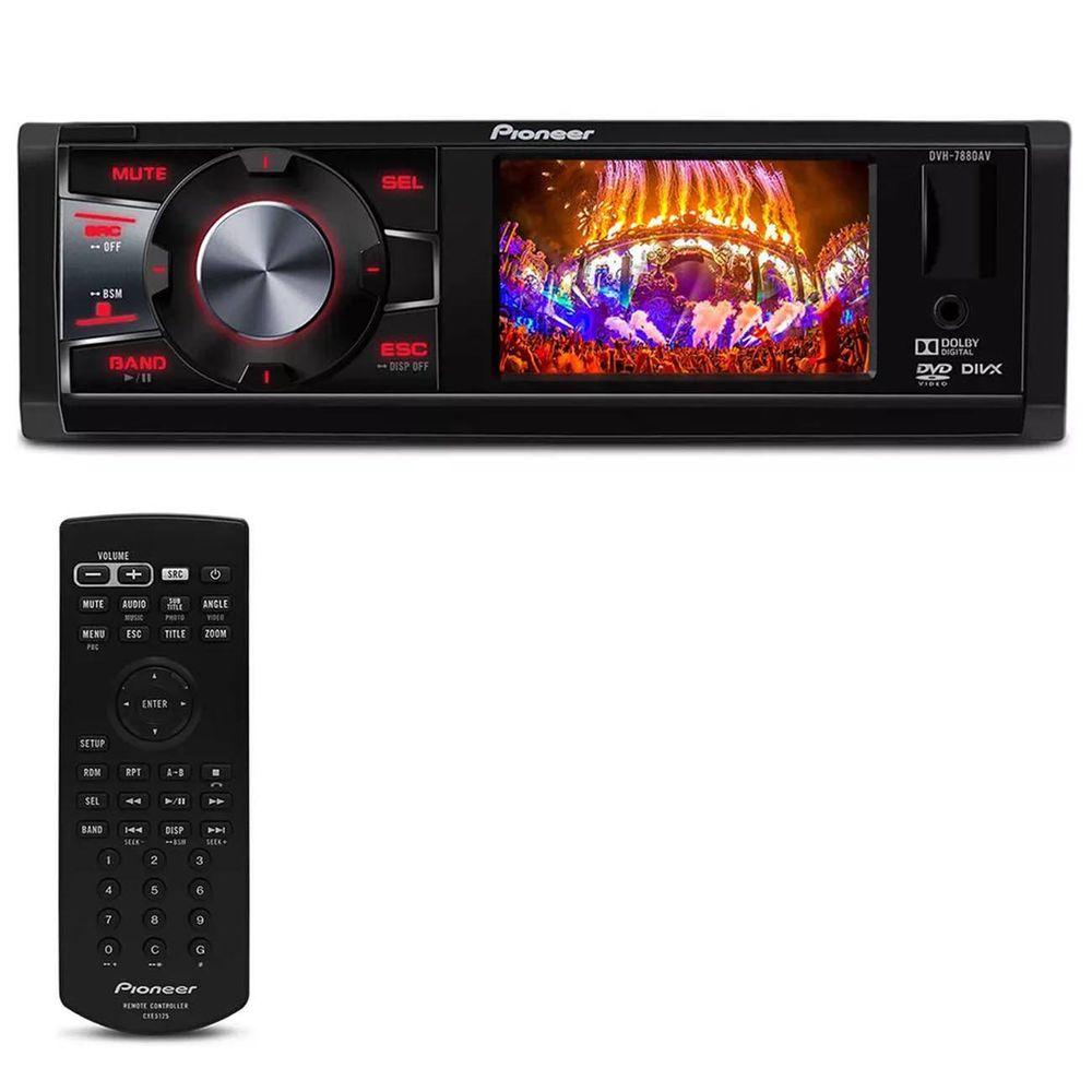 a6543d0960de1 DVD Player Automotivo Pioneer DVH-7880AV 1 Din 3 Pol USB AUX MP3 CD WMA AM  FM RCA Controle