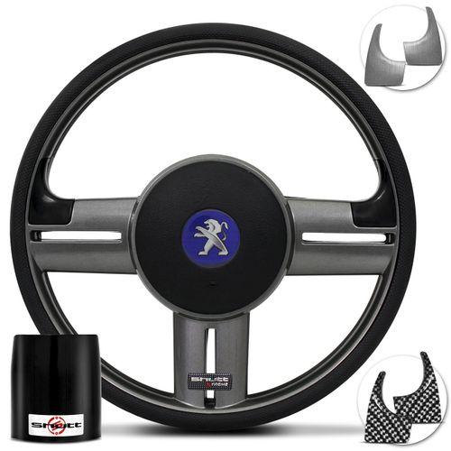 Volante-Shutt-Rallye-Surf-Grafite-Xtreme-Apliques-Preto-Escovado-Grafite---Cubo-Peugeot-206-306-207-Connect-Parts--1-