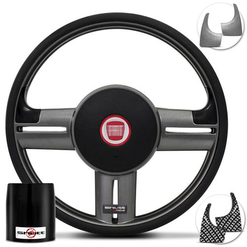 Volante-Shutt-Rallye-Surf-Grafite-Xtreme-Apliques-Preto-Escovado-e-Grafite---Cubo-Fiat-147-78-a-87-Connect-Parts--1-
