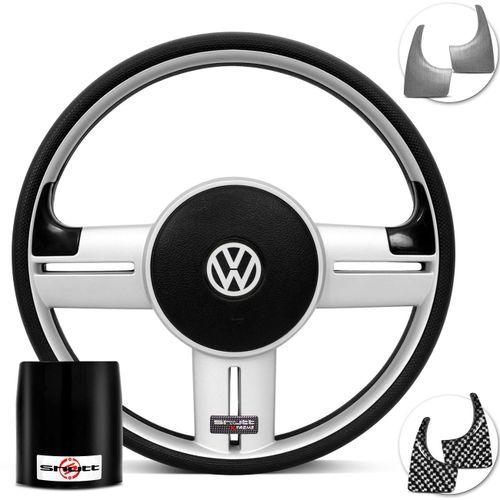 Volante-Shutt-Surf-Prata-Xtreme-Apliques-Preto-Prata-Escovado-Carbono---Cubo-Fusca-Voyage-Passat-VW-Connect-Parts--1-