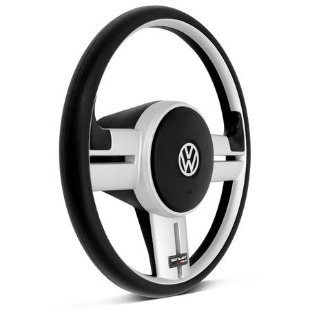 Volante-Shutt-Surf-Prata-Xtreme-Apliques-Preto-Prata-Escovado-Carbono---Cubo-Fox-Polo-Linha-VW-Connect-Parts--1-