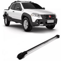 Rack de Teto Travessa Slim Fiat Strada Adventure Locker 2009 a 2013 Prata Suporte 45 Kg