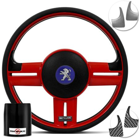 Volante-Shutt-Surf-RS-Vermelho-Apliques-Prata-e-Carbono---Cubo-Peugeot-206-306-207-connect-parts--1-