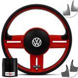 Volante-Shutt-Surf-RS-Vermelho-Apliques-Prata-e-Carbono---Cubo-Fox-Polo-Linha-VW-connect-parts--1-