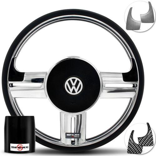 Volante-Shutt-Surf-Cromado-Xtreme-Apliques-Preto-Prata-Escovado-Carbono---Cubo-Fox-Polo-Linha-VW-Connect-Parts--1-